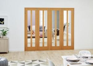 Aston Oak Folding Room Divider ( 4 x 610mm doors): French Doors with folding sidelights Image