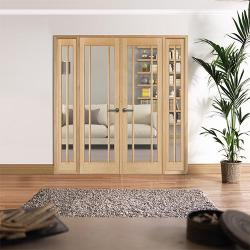 W6 Lincoln Oak Interior French Doors: Internal Room Divider with sidelight options Image