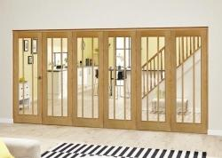 Lincoln Oak Roomfold Deluxe ( 5 + 1 x 686mm doors): Interior Folding Door with Low Level Guide Rail Image