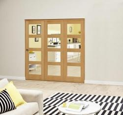 Oak 4L Clear Roomfold Deluxe (3 x 610mm doors): Interior Folding Door with Low Level Guide Rail Image