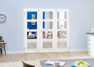 White 4L Folding Room Divider 6ft ( 1800mm ) set: French Doors with folding sidelights Image