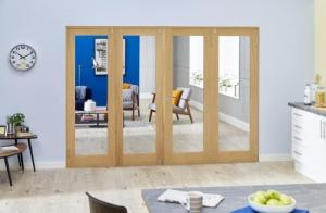 Glazed Oak P10 Folding Room Divider ( 4 x 610mm Doors): French Doors with folding sidelights Image
