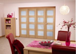 Oak 4L Shaker Roomfold - Frosted Unfinished, Interior Bifold Doors Image