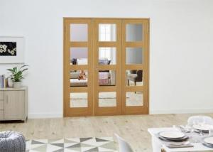 PREFINISHED Oak 4L Folding Room Divider 7ft (2142mm): French Doors with folding sidelights Image