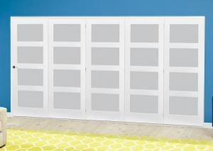 White 4L Frosted Roomfold Deluxe ( 5 x 762mm doors ),  Image