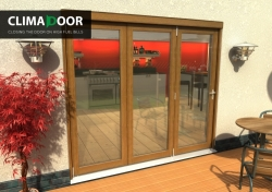 Climadoor Elite Oak Bi fold door 2400mm: 54mm fully finished Folding doorset Image