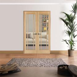 W4 Lincoln Oak Interior French Doors: Internal Room Divider with sidelight options Image