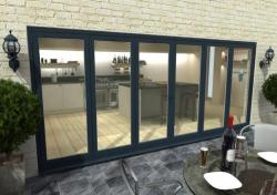 4800mm Grey Aluminium Bifold Doors - CLIMADOOR: 70mm Thermally Broken, Double Glazed Door Set Image