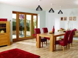 NUVU 2100mm (7ft) OAK French Doors with sidelights: 44mm Unfinished French Doorset Image