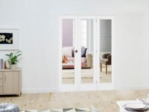 Slimline White P10 Roomfold Deluxe ( 3 x 381mm doors ): Interior Folding Door with Low Level Guide Rail Image