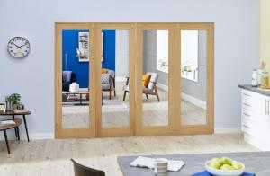 PREFINISHED Oak French Folding Room Divider - Clear, Interior Bifold Doors Image
