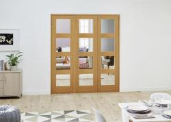 PREFINISHED Oak 4L Folding Room Divider 6ft (1800mm) set: French Doors with folding sidelights Image