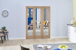 "Slimline Glazed Oak Prefinished 3 Door Roomfold (3 x 15"" Doors),  Image"