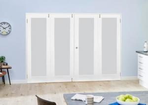 White P10 Frosted Folding Room Divider ( 4 x 533mm Doors): French Doors with folding sidelights Image