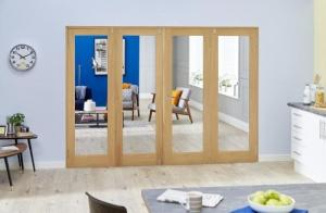 Glazed Oak P10 Folding Room Divider ( 4 x 533mm Doors): French Doors with folding sidelights Image