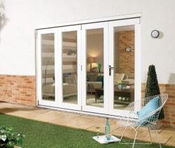 NUVU 3000mm (10ft) WHITE Folding Patio Door: 44mm Fully Finished Doorset Image