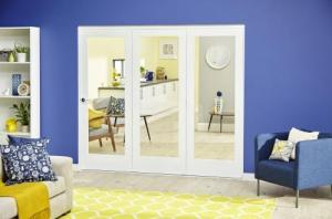 White P10 Roomfold Deluxe ( 3 x 686mm doors ): Interior Folding Door with Low Level Guide Rail Image