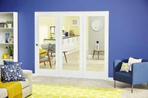 White P10 Roomfold Deluxe ( 3 x 610mm doors ): Interior Folding Door with Low Level Guide Rail Image