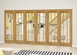 Lincoln Oak Roomfold Deluxe ( 3 + 3 x 610mm doors): Interior Folding Door with Low Level Guide Rail Image