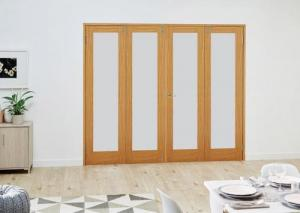 Oak P10 Frosted Folding Room Divider 8ft ( 2400mm) set: French Doors with folding sidelights Image