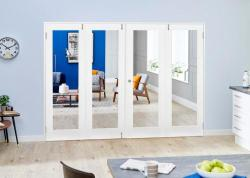White P10 Folding Room Divider ( 4 x 533mm Doors): French Doors with folding sidelights Image
