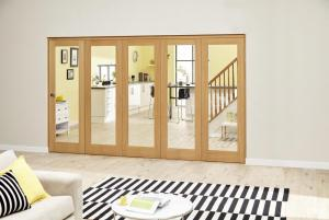 PREFINISHED Oak Roomfold Deluxe - Clear Glass, Interior Bifold Doors Image
