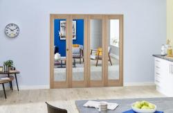 "Slimline Glazed Oak Prefinished 4 Door Roomfold (4 x 18"" Doors),  Image"