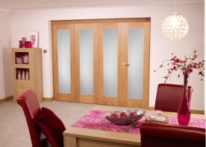 Glazed Oak Roomfold - Frosted unfinished, Interior Bifold Doors Image