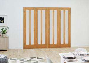 Aston Oak Frosted Folding Room Divider ( 4 x 610mm doors): French Doors with folding sidelights Image