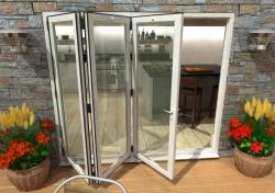 2400mm White Aluminium Bifold Doors - CLIMADOOR: 70mm Thermally Broken, Double Glazed Door Set Image