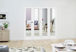 Slimline White P10 Roomfold Deluxe ( 4 x 457mm doors ): Interior Folding Door with Low Level Guide Rail Image