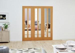 Aston Oak Folding Room Divider ( 3 x 610mm doors): French Doors with folding sidelights Image