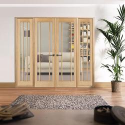 W8 Lincoln Oak Interior French Doors: Internal Room Divider with sidelight options Image