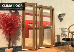 Climadoor Elite Oak Bi fold door 2100mm: 54mm fully finished Folding doorset Image