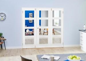 White 4L Folding Room Divider 7ft (2142mm) set: French Doors with folding sidelights Image