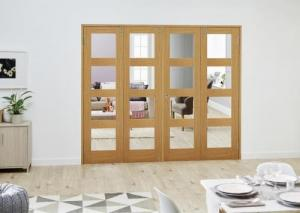 PREFINISHED Oak 4L Folding Room Divider 8ft (2374mm): French Doors with folding sidelights Image