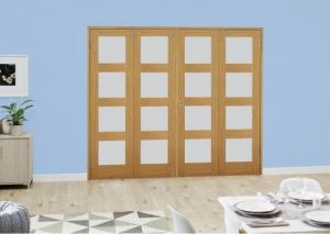 Oak 4L Frosted Folding Room Divider ( 4 x 533mm doors): French Doors with folding sidelights Image