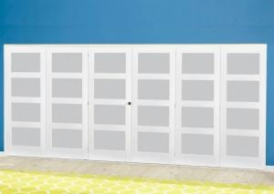 White 4L Frosted Roomfold Deluxe ( 3 + 3 x 686mm doors ): Interior Folding Door with Low Level Guide Rail Image