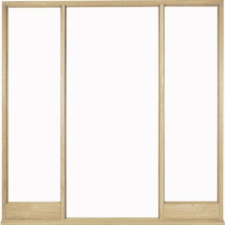 Solid Universal Malaysian Oak Vestibule frame for glazing on site.: Complete Solid Malaysian Oak Vestibule Frame kit for on site glazing Image