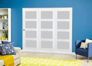 White 4L Frosted Roomfold Deluxe ( 3 x 533mm doors ): Interior Folding Door with Low Level Guide Rail Image