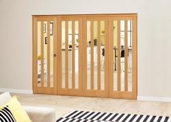 Aston Oak Roomfold Deluxe - Clear Glass, Interior Bifold Doors Image