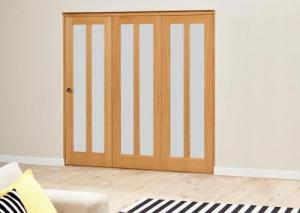 Aston Frosted - 3 door Roomfold Deluxe ( 3 x 610mm doors ): Interior Folding Door with Low Level Guide Rail Image
