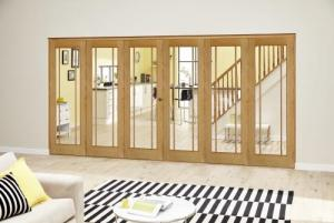 Worcester Oak Prefinished Roomfold Deluxe (3 + 3 x 686mm doors): Interior Folding Door with Low Level Guide Rail Image