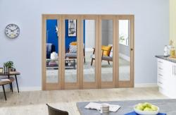 Slimline Glazed Oak Prefinished 5 Door Roomfold (5 x 419mm Doors),  Image