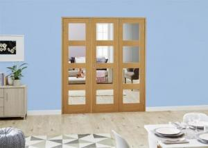 Oak 4L Folding Room Divider 6ft ( 1800mm ) set: French Doors with folding sidelights Image