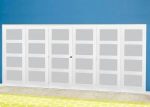 White 4L Frosted Roomfold Deluxe ( 3 + 3 x 610mm doors ): Interior Folding Door with Low Level Guide Rail Image