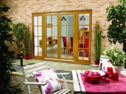 2400mm (8ft) OAK 8 Lite - Prefinished - 1500 Pair + 2 x 450mm Sidelights : 44mm Fully Finished Doorsets Image