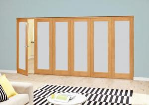 Frosted P10 Oak Roomfold Deluxe (5 + 1 x 610mm doors),  Image