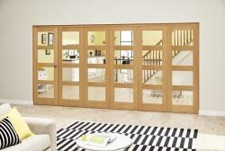 Oak 4L Clear Roomfold Deluxe (5 + 1 x 686mm doors): Interior Folding Door with Low Level Guide Rail Image