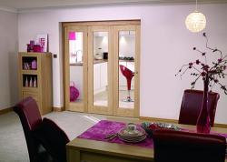 "Glazed OAK - 3 door roomfold (3 x 27"" doors): Internal Roomfold System Image"